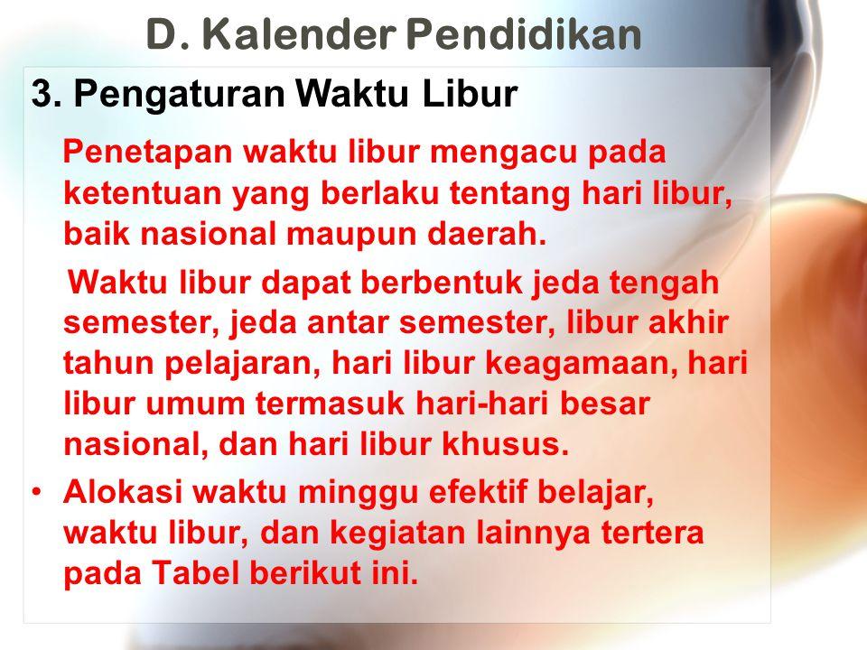 D. Kalender Pendidikan 3. Pengaturan Waktu Libur