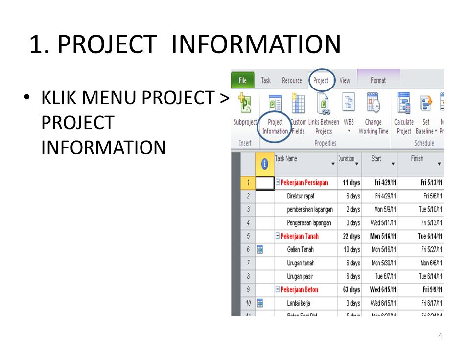 1. PROJECT INFORMATION KLIK MENU PROJECT > PROJECT INFORMATION