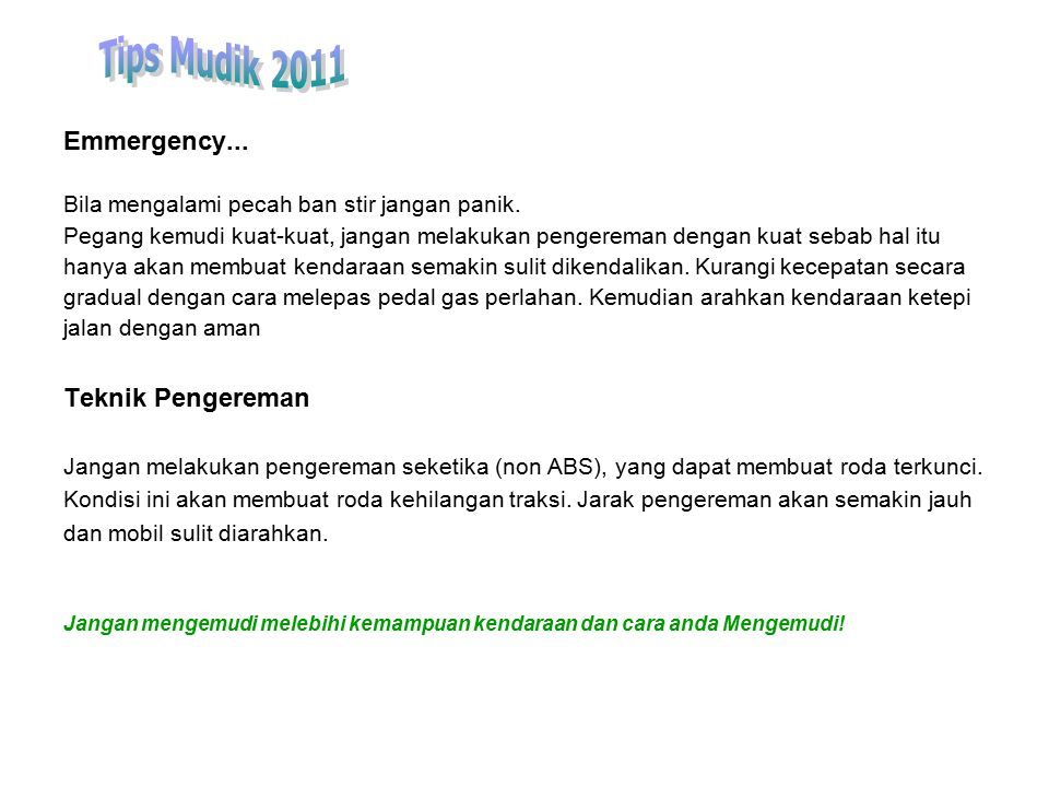 Tips Mudik 2011 Emmergency... Teknik Pengereman