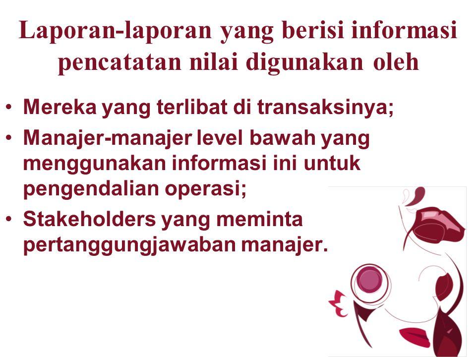 Laporan-laporan yang berisi informasi pencatatan nilai digunakan oleh