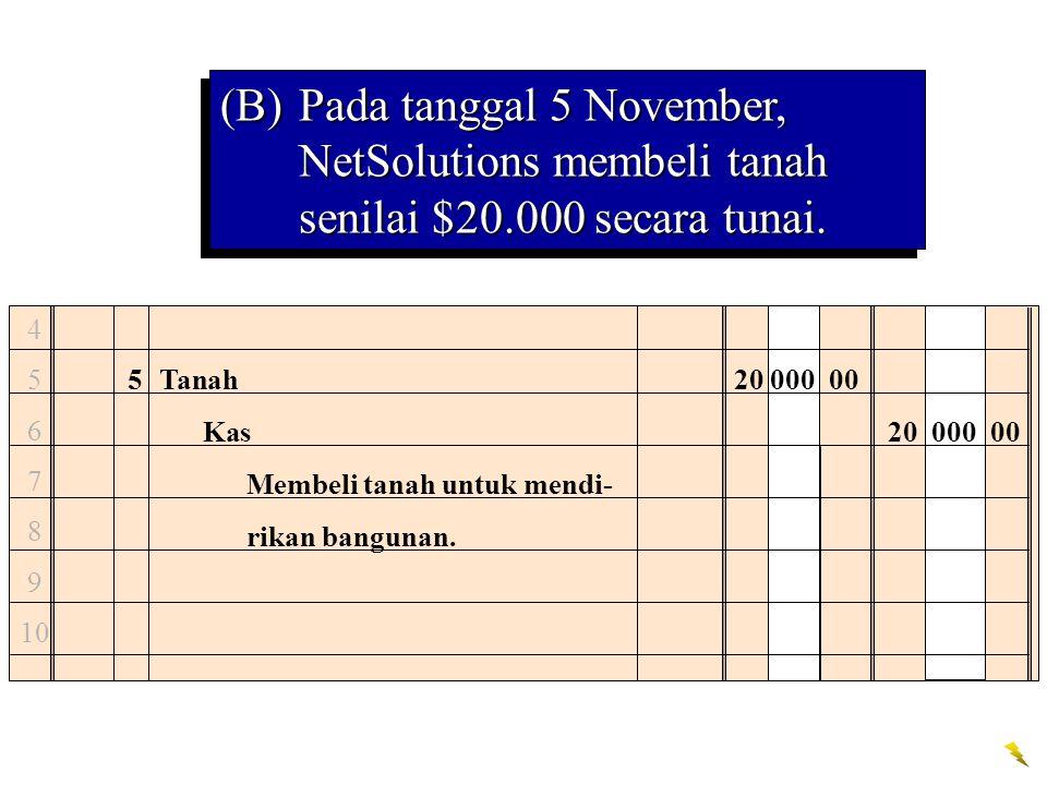 (B). Pada tanggal 5 November, NetSolutions membeli tanah senilai $20
