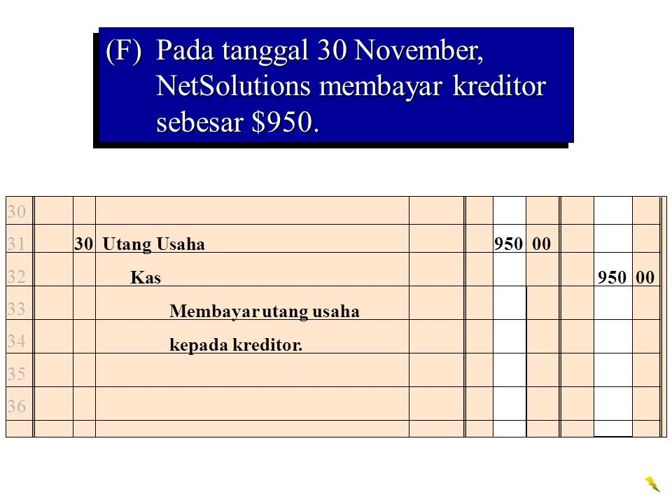 (F) Pada tanggal 30 November, NetSolutions membayar kreditor sebesar $950.