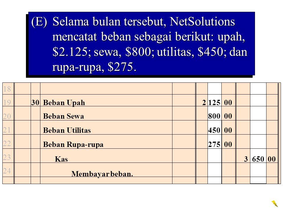 (E) Selama bulan tersebut, NetSolutions mencatat beban sebagai berikut: upah, $2.125; sewa, $800; utilitas, $450; dan rupa-rupa, $275.