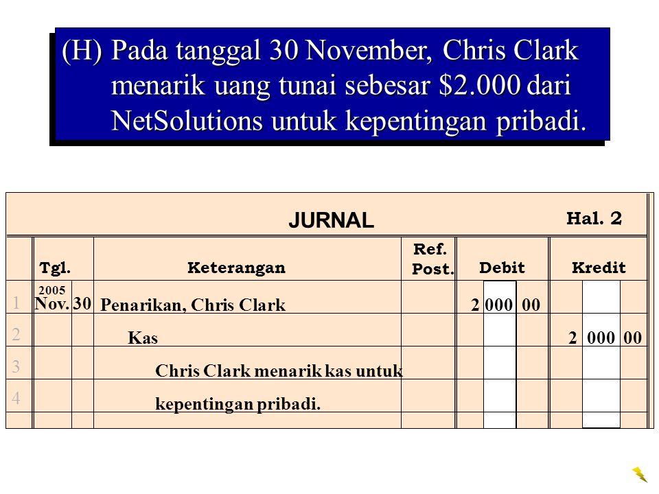 (H) Pada tanggal 30 November, Chris Clark menarik uang tunai sebesar $2.000 dari NetSolutions untuk kepentingan pribadi.