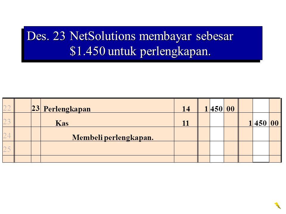 Des. 23 NetSolutions membayar sebesar $1.450 untuk perlengkapan.