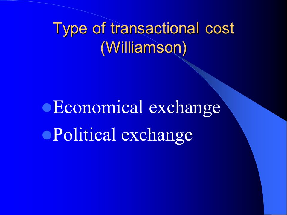 Type of transactional cost (Williamson)