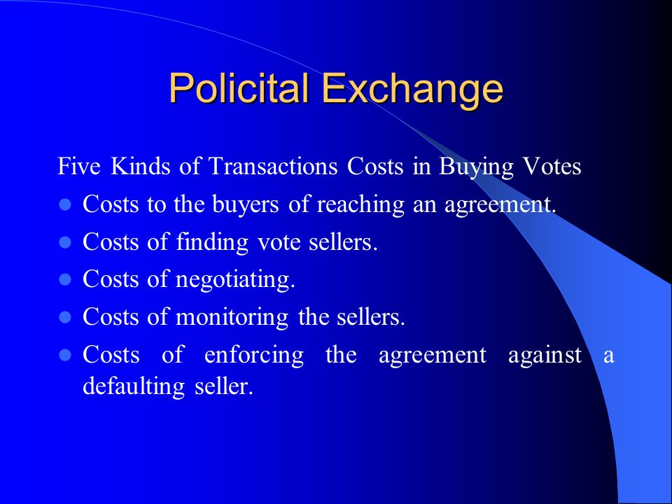 Policital Exchange Five Kinds of Transactions Costs in Buying Votes
