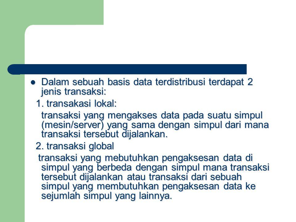 Dalam sebuah basis data terdistribusi terdapat 2 jenis transaksi: