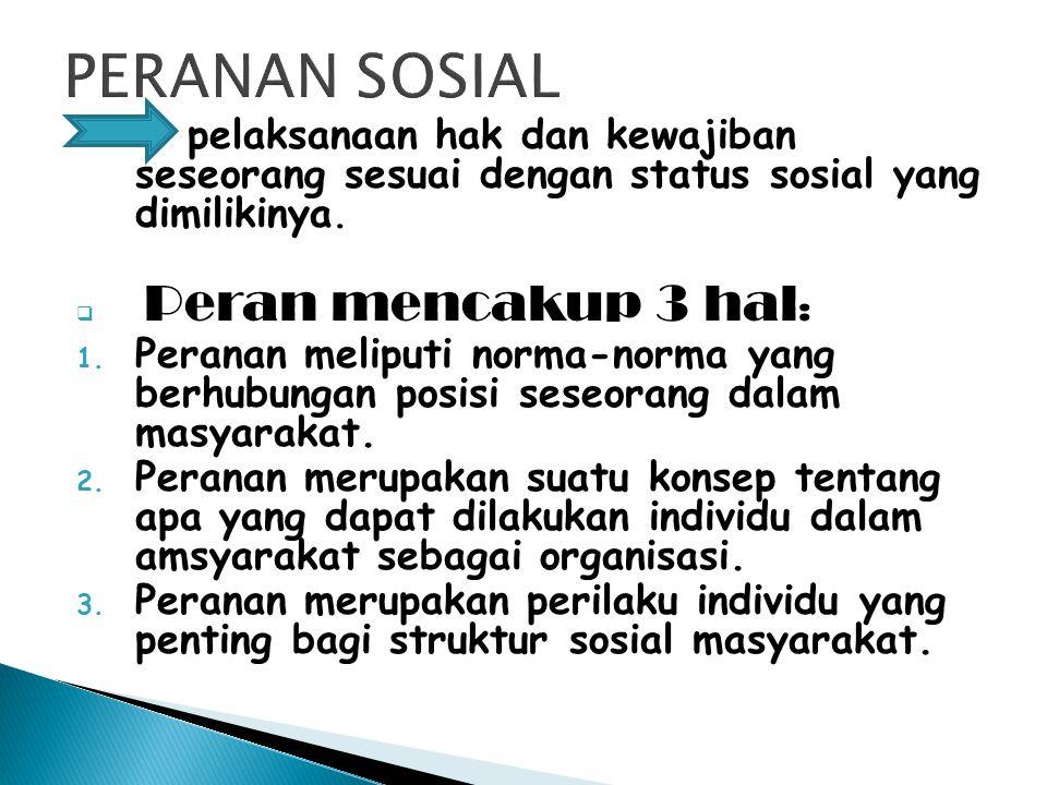PERANAN SOSIAL pelaksanaan hak dan kewajiban seseorang sesuai dengan status sosial yang dimilikinya.
