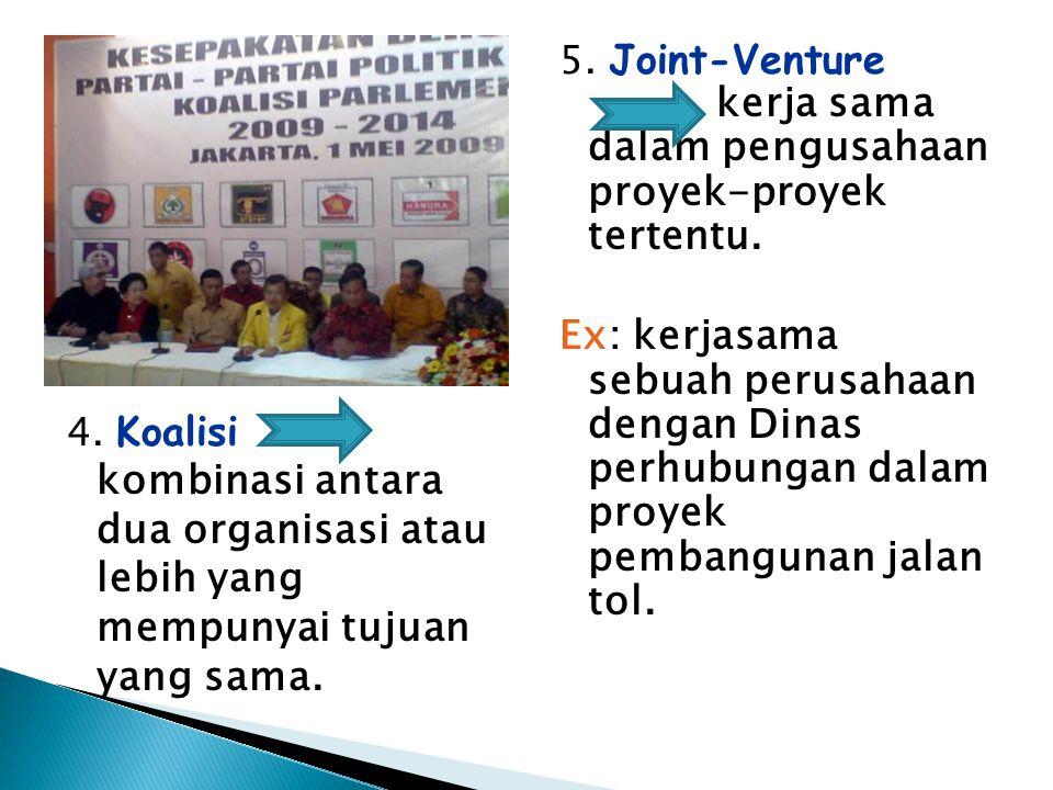 5. Joint-Venture kerja sama dalam pengusahaan proyek-proyek tertentu.