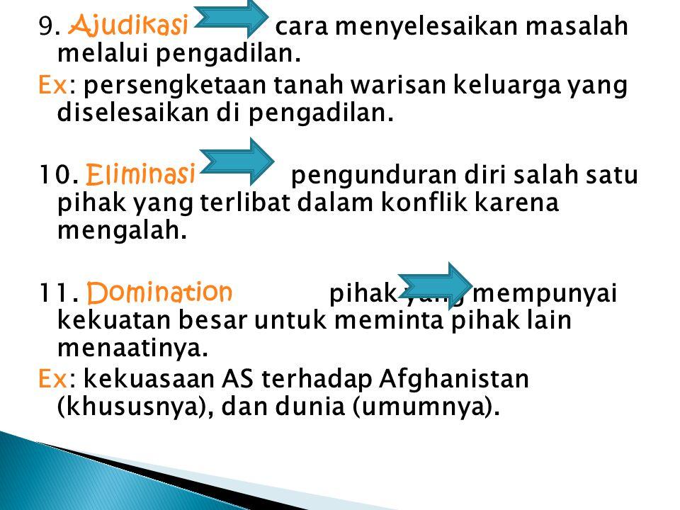 9. Ajudikasi cara menyelesaikan masalah melalui pengadilan