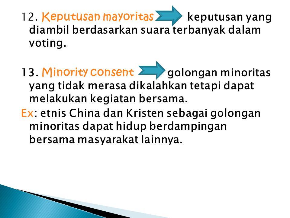 12. Keputusan mayoritas keputusan yang diambil berdasarkan suara terbanyak dalam voting.