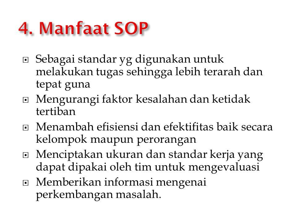 4. Manfaat SOP Sebagai standar yg digunakan untuk melakukan tugas sehingga lebih terarah dan tepat guna.