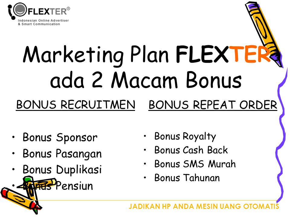 Marketing Plan FLEXTER ada 2 Macam Bonus