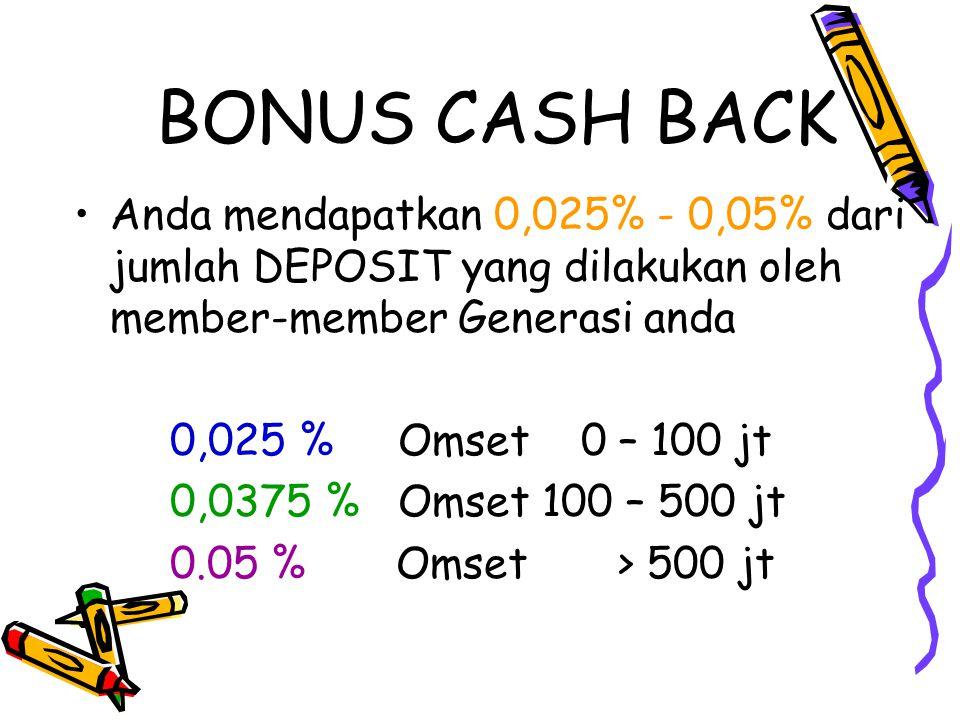 BONUS CASH BACK Anda mendapatkan 0,025% - 0,05% dari jumlah DEPOSIT yang dilakukan oleh member-member Generasi anda.