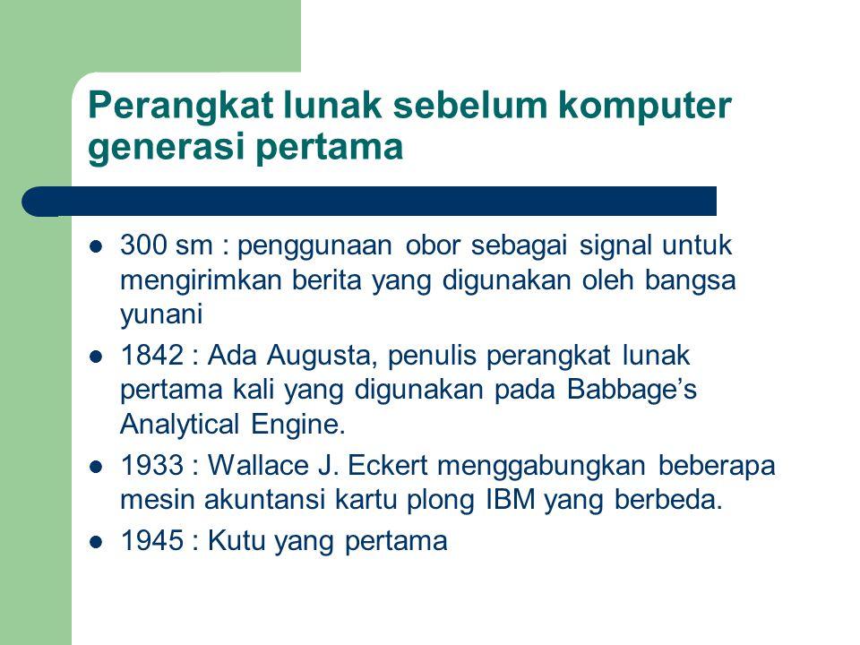 Perangkat lunak sebelum komputer generasi pertama