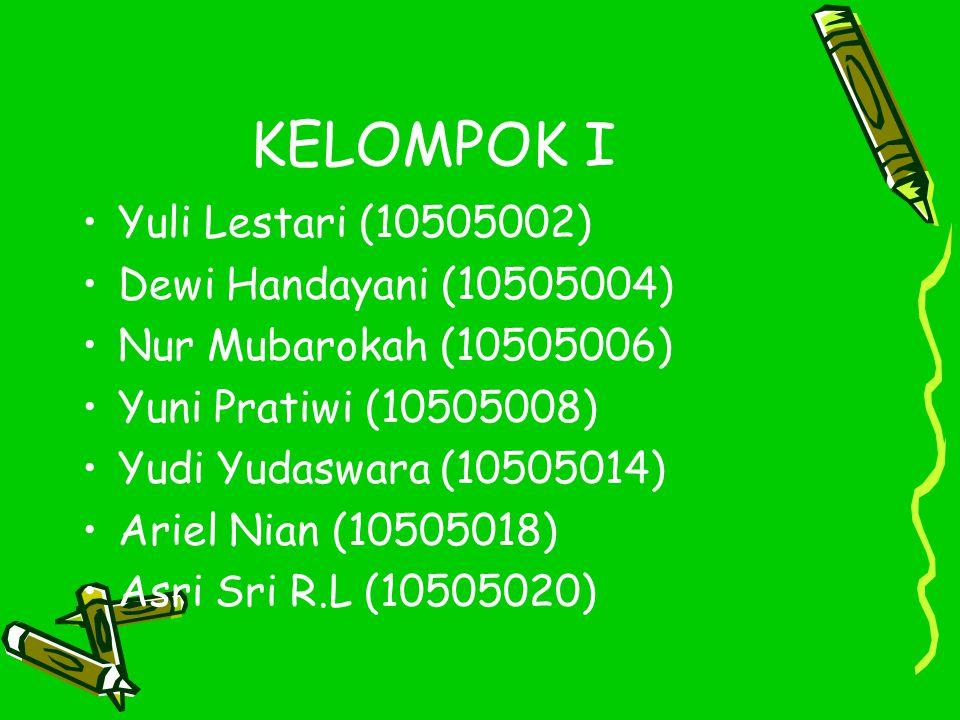 KELOMPOK I Yuli Lestari (10505002) Dewi Handayani (10505004)