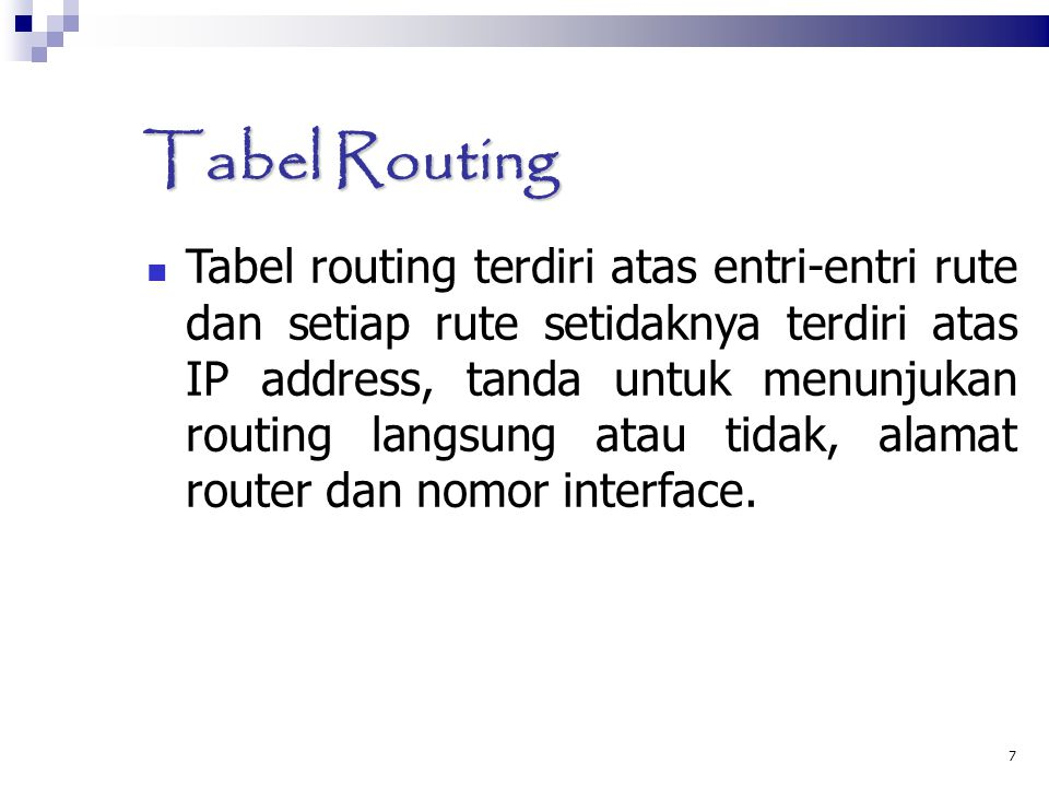 Tabel Routing