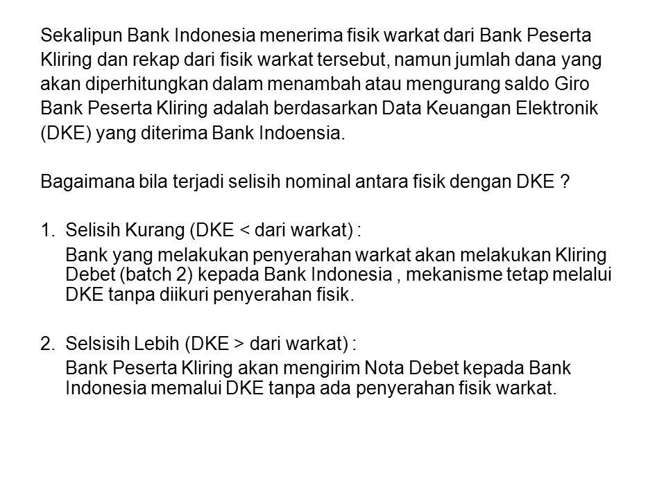 Sekalipun Bank Indonesia menerima fisik warkat dari Bank Peserta