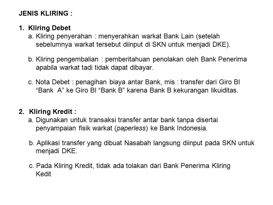 JENIS KLIRING : 1. Kliring Debet. a. Kliring penyerahan : menyerahkan warkat Bank Lain (setelah.