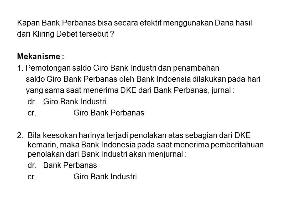 Kapan Bank Perbanas bisa secara efektif menggunakan Dana hasil