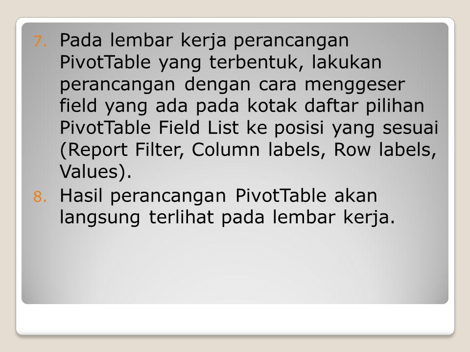 Pada lembar kerja perancangan PivotTable yang terbentuk, lakukan perancangan dengan cara menggeser field yang ada pada kotak daftar pilihan PivotTable Field List ke posisi yang sesuai (Report Filter, Column labels, Row labels, Values).