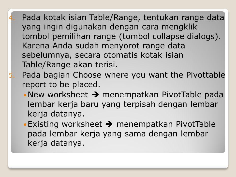 Pada kotak isian Table/Range, tentukan range data yang ingin digunakan dengan cara mengklik tombol pemilihan range (tombol collapse dialogs). Karena Anda sudah menyorot range data sebelumnya, secara otomatis kotak isian Table/Range akan terisi.