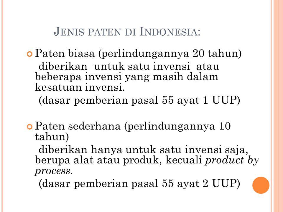 Jenis paten di Indonesia: