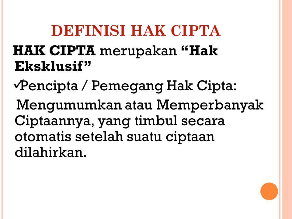 DEFINISI HAK CIPTA HAK CIPTA merupakan Hak Eksklusif Pencipta / Pemegang Hak Cipta: