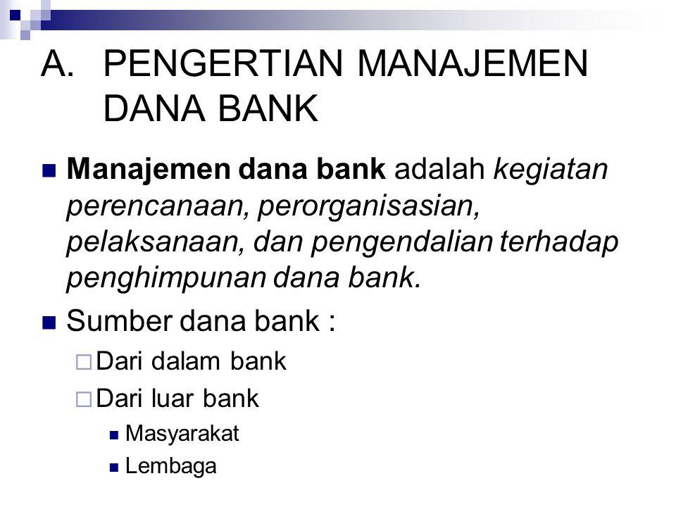 PENGERTIAN MANAJEMEN DANA BANK