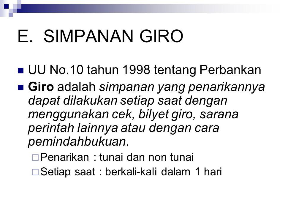 SIMPANAN GIRO UU No.10 tahun 1998 tentang Perbankan