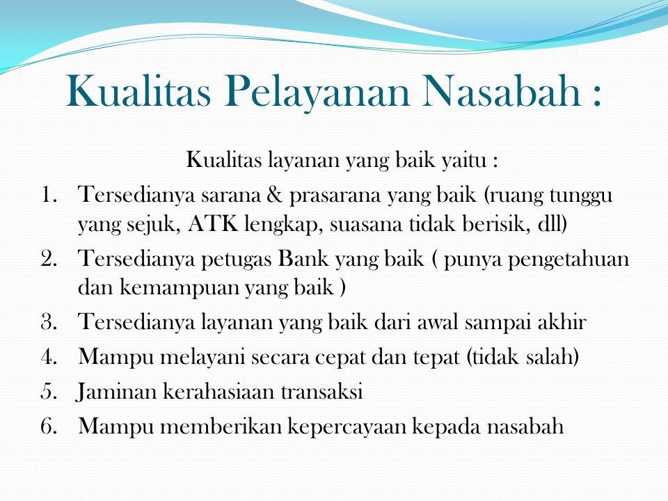 Kualitas Pelayanan Nasabah :