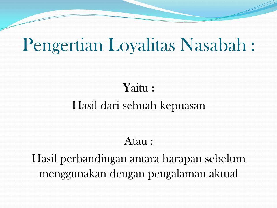 Pengertian Loyalitas Nasabah :