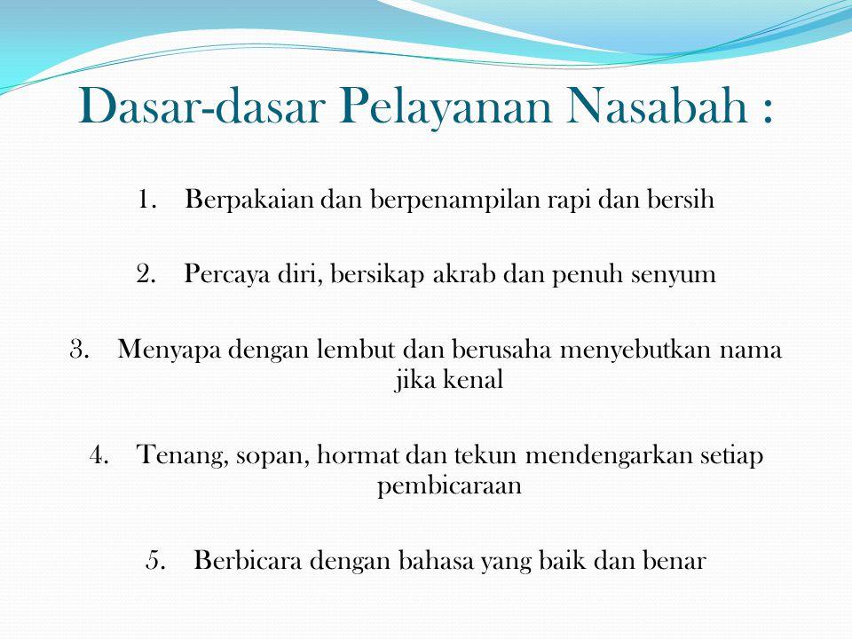 Dasar-dasar Pelayanan Nasabah :