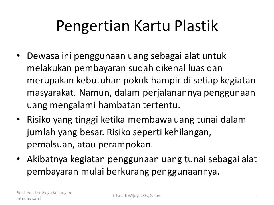Pengertian Kartu Plastik