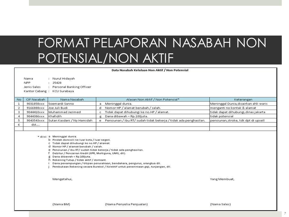 FORMAT PELAPORAN NASABAH NON POTENSIAL/NON AKTIF