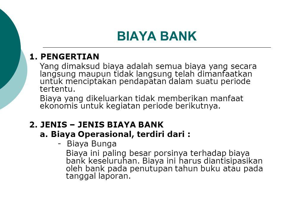 BIAYA BANK 1. PENGERTIAN.