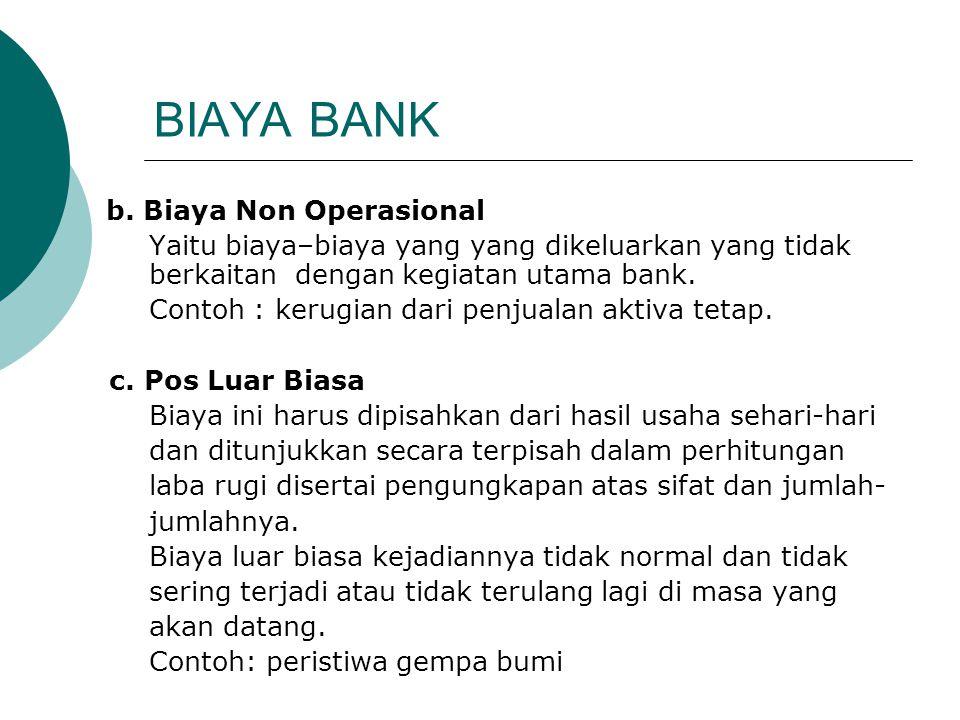 BIAYA BANK b. Biaya Non Operasional