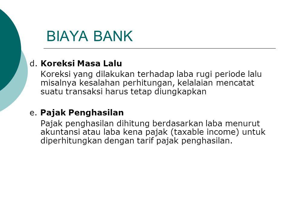 BIAYA BANK d. Koreksi Masa Lalu