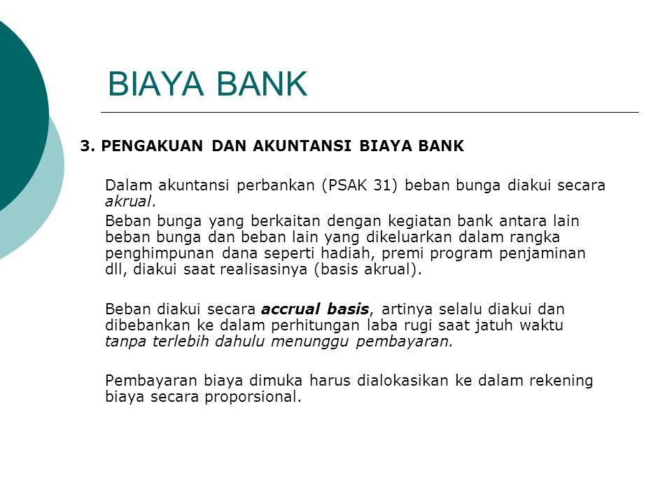 BIAYA BANK 3. PENGAKUAN DAN AKUNTANSI BIAYA BANK