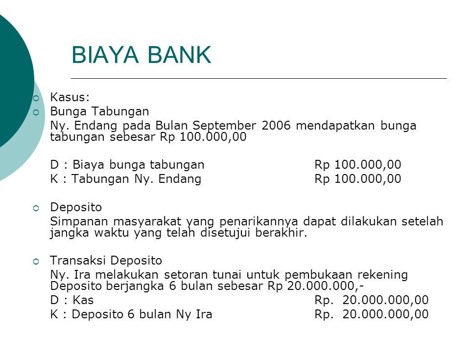 BIAYA BANK Kasus: Bunga Tabungan