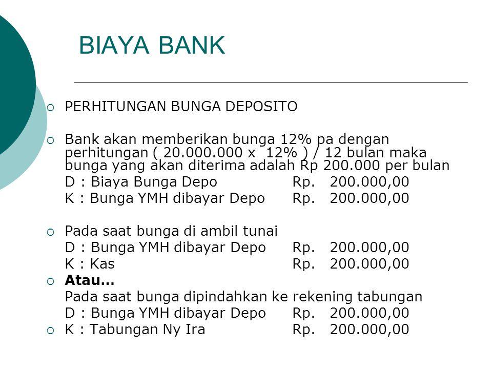 BIAYA BANK PERHITUNGAN BUNGA DEPOSITO