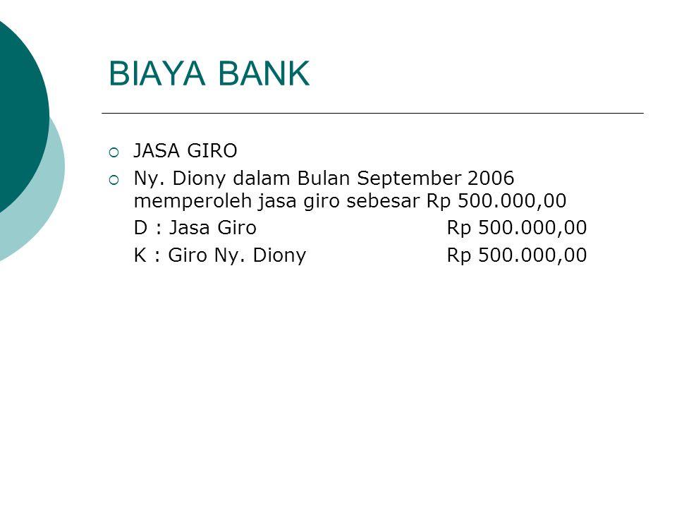 BIAYA BANK JASA GIRO. Ny. Diony dalam Bulan September 2006 memperoleh jasa giro sebesar Rp 500.000,00.