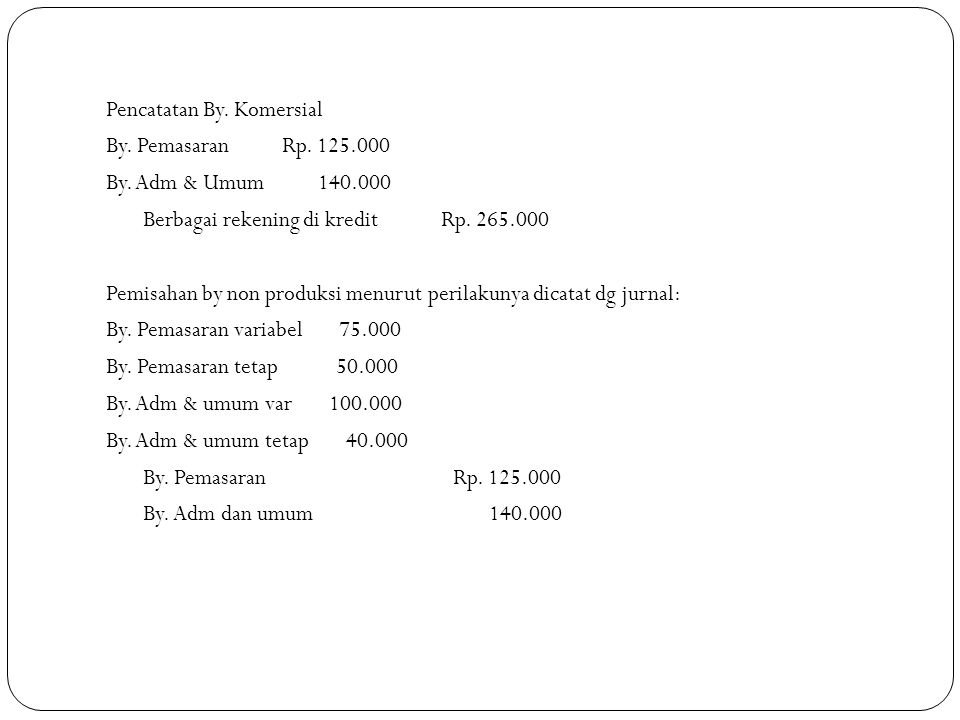 Pencatatan By. Komersial By. Pemasaran Rp. 125. 000 By. Adm & Umum 140