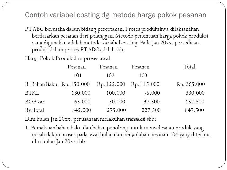Contoh variabel costing dg metode harga pokok pesanan