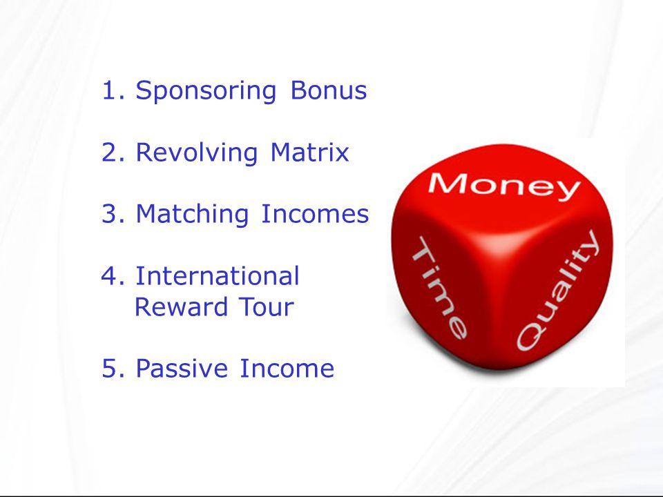 1. Sponsoring Bonus 2. Revolving Matrix. 3. Matching Incomes.