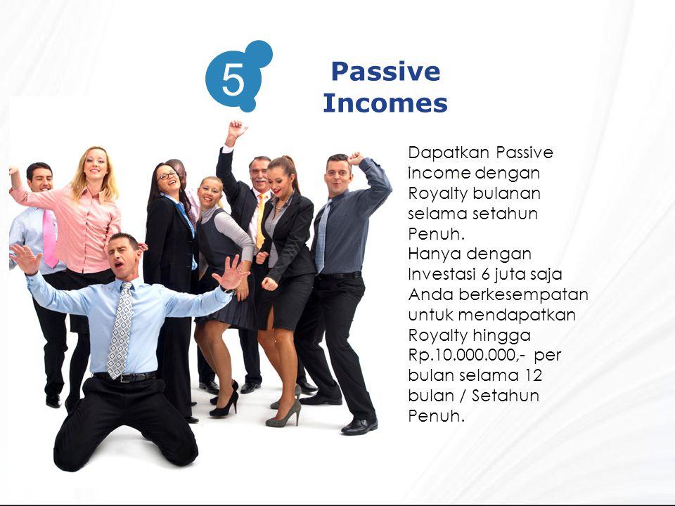 3 Passive Incomes. 5. Dapatkan Passive income dengan Royalty bulanan selama setahun Penuh.