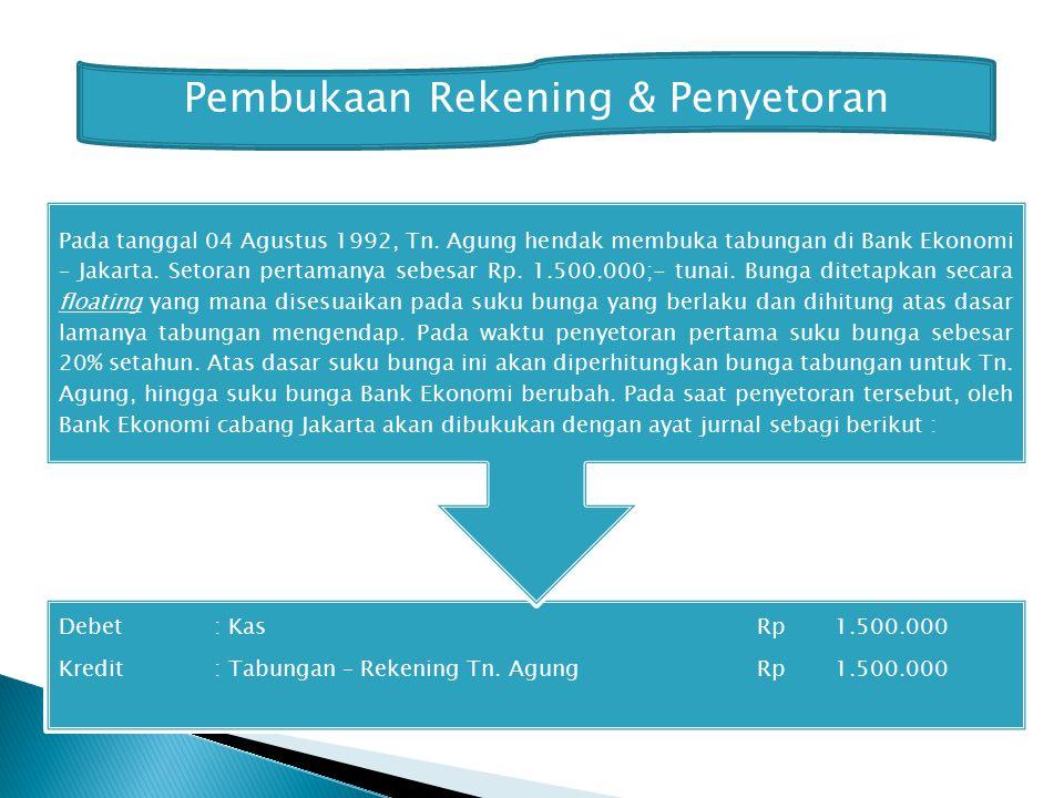 Pembukaan Rekening & Penyetoran