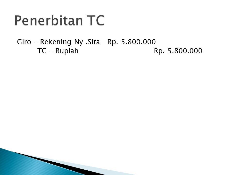 Penerbitan TC Giro - Rekening Ny .Sita Rp. 5.800.000