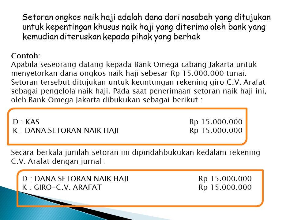 Setoran ongkos naik haji adalah dana dari nasabah yang ditujukan untuk kepentingan khusus naik haji yang diterima oleh bank yang kemudian diteruskan kepada pihak yang berhak